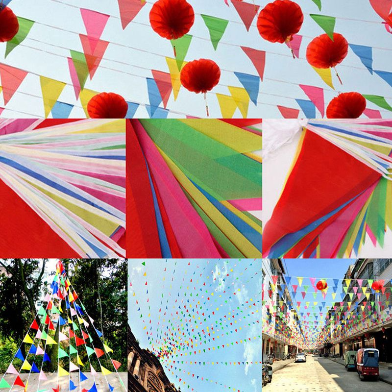 38m Cheerleading Triangle Flag Festival Pennant String Banner Buntings Colorful Festival Holiday Decoration Pompom  NEW