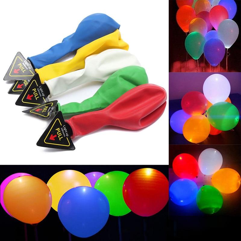 50 Pcs LED Glow In The Dark Balloon Luminous Ball Colorful Flash Balloon Wedding 12 Inch LED Luminous Balloon