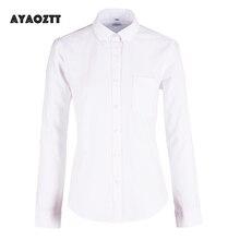 بلوزات بيضاء من AYAOZTT بأكمام طويلة من قماش أكسفورد للسيدات قمصان طويلة الأكمام للمكتب قمصان نسائية للطالبات بلوزات نسائية مقاس كبير 2020