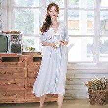 Roseheart נשים לבן סקסי הלבשת לילה שמלת תחרה Homewear Nightwear יוקרה כתונת לילה נשי משפט שמלת כותנה