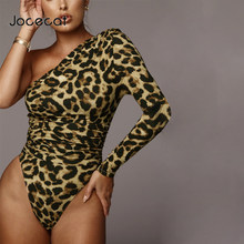 2019 leopard one-shoulder long sleeve sexy bodycon bodysuit autumn winter women streetwear outfits club body(China)