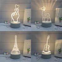 SOLOLANDOR 3D LED lámpara creativa 3D LED noche luces novedad ilusión noche lámpara 3D ilusión lámpara de mesa para luz decorativa de hogar