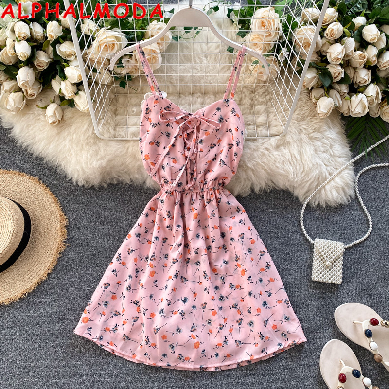 ALPHALMODA 2020 New Women Floral Chiffon Playsuit Female Summer High Waist Slim Fit Holiday Outfit Lace-Up Floral Print Playsuit