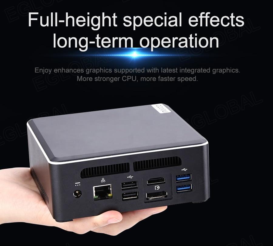AMD oyun Mini PC Ryzen R7 2700U dört çekirdekli Vega10 grafik 2 * DDR4 M.2 NVME masaüstü bilgisayar Windows 10 4K HDMI2.0 tipi C DP WiFi