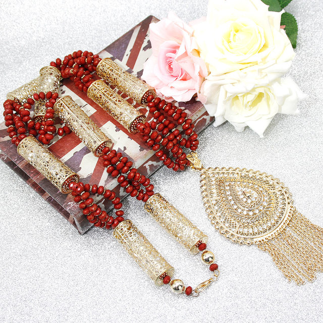 Sunspicems Gold Color Algerian Caftan Body Chain Necklace for Women Bust Accessory Ethnic Wedding Long Bead Jewelry Bridal Gift