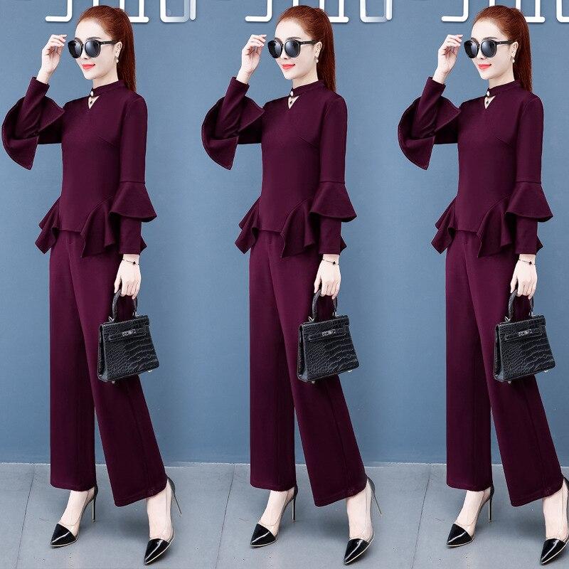 Early Autumn Set Female Autumn 2019 New Style WOMEN'S Dress Fashion Western Style Trousers Debutante Elegant Slimming Pants Two-