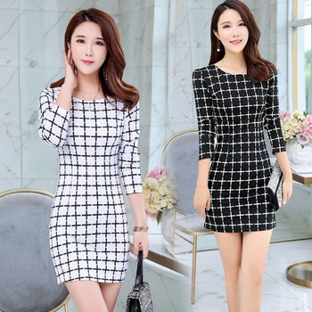 2020 Long Sleeve Plaid Casual Winter Autumn For Women O-Neck Black White Woman Party Night Mini Dress Plus Size Vestidos Dresses 2