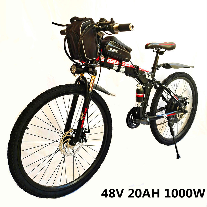 26-дюймовый Электрический велосипед 48V 15ah литий Батарея Электрический горный велосипед 1000 Вт Мотор складываемый электровелосипед мощный эл...