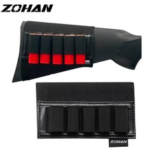 ZOHAN 5 Rounds Shotgun Shell Holder On Stock Cartridge Holder Buttstock Ammo Pouch for 12 20 Gauge Hunting Gun Accessory
