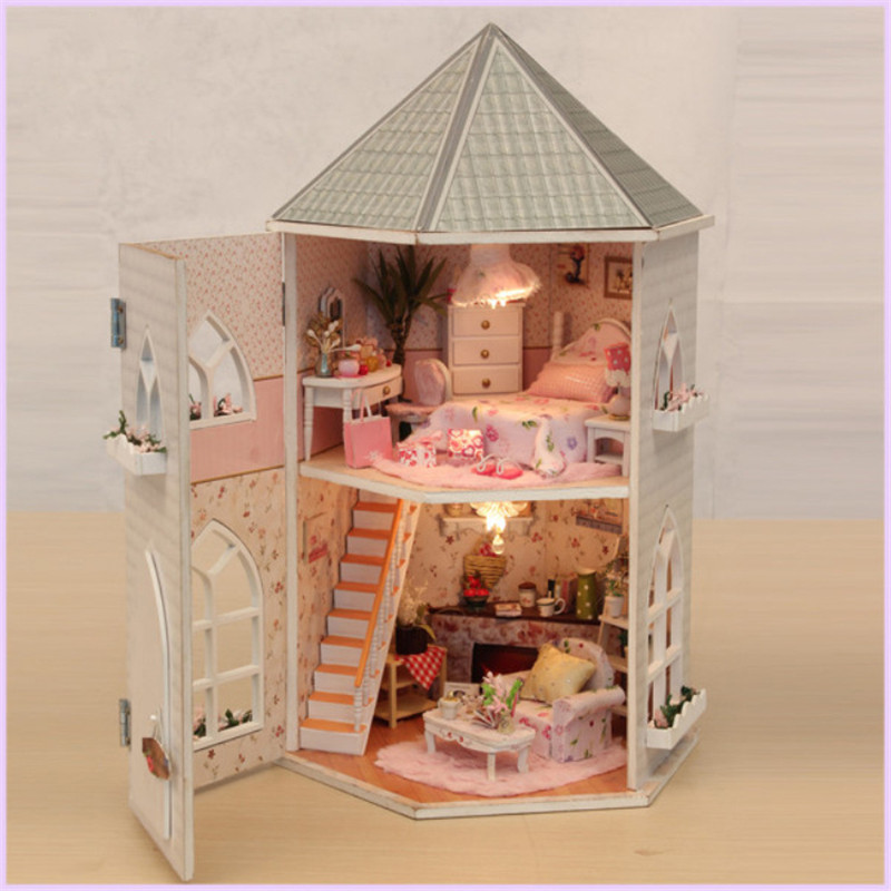 DIY Wooden Castle Miniature Dollhouse With Furniture Assembly Wood Doll House For Children Gift Handmade