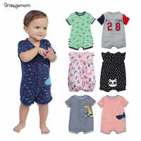 2019 loja oficial verão meninos roupas do bebê de manga curta macacão recém-nascido macacão bebê menino roupas infantis roupas bebê macacão