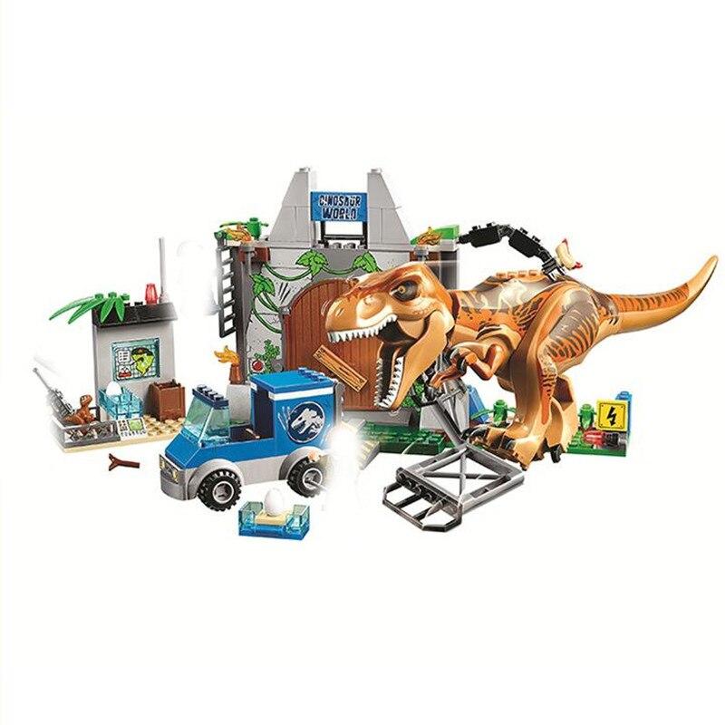New 10758 168pcs Jurassic World Dinosaurs Tyrannosaurus Rex Breakout Building Block Toys For Children Bela 10920 in Blocks from Toys Hobbies