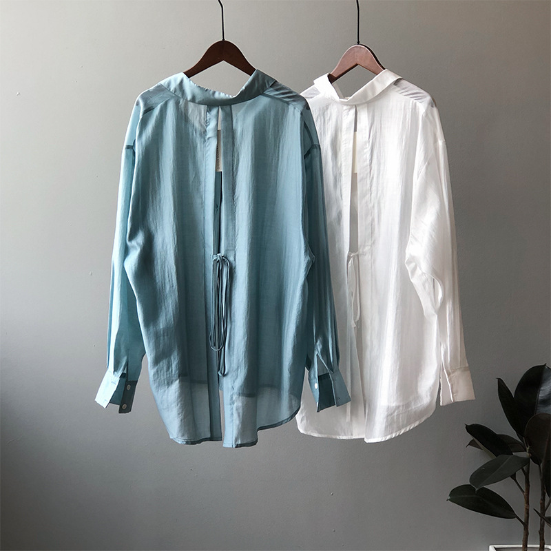Boyfriend Thin Women Shirt With Double Solid Color And Backless Loose Sunscreen Summer Top