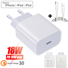 gocomma travel charger kit type c usb adapter 18W PD USB Type C Charger Adapter For iPhone 11 Pro Xr X Xs Max 8 Plus Fast Charging EU US Plug Travel Charger for Apple Devices