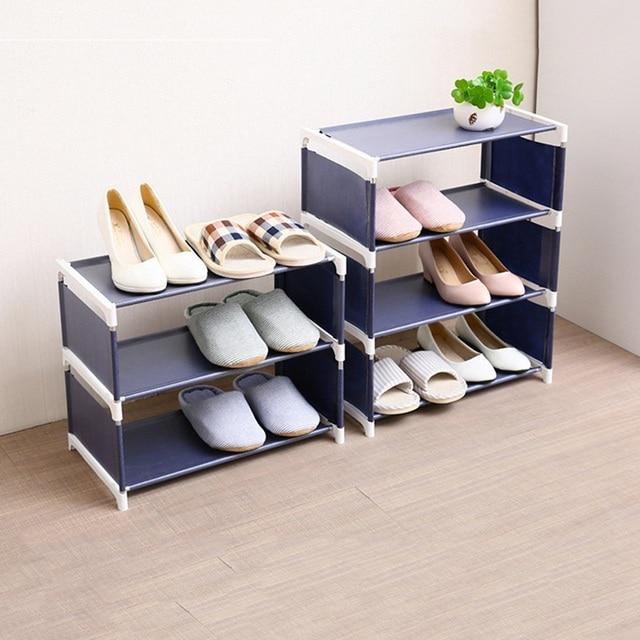 Cremalheiras de sapato dobrável armários de sapato economizar espaço várias camadas sapatos prateleira titular suporte dustproof organizador casa sala estar