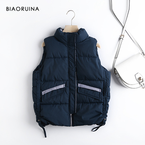 Image 3 - BIAORUINA Womens Korean Style Solid Sleeveless Winter Keep Warm Winter Vest Coat Single Women Breasted Loose Thick Fashion Vest