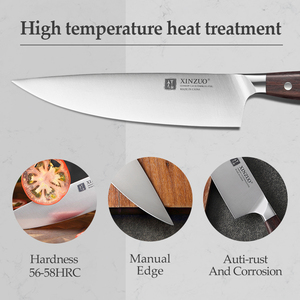 Image 4 - XINZUO 8 Chef Knife German DIN 1.4116 Steel Kitchen Knives Stainless Steel Meat Vegetables Knife Kitchen Red Sandalwood Handle
