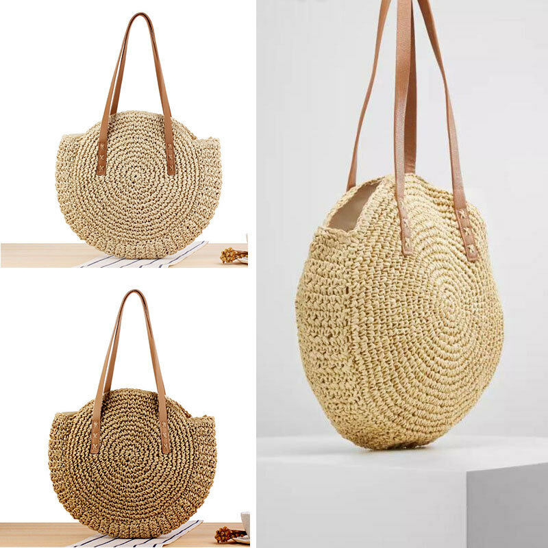 Women Hand Woven Bag Round Rattan Straw Bohemia Style Beach Circle Beach Bags~