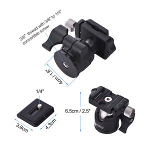 Image 3 - Andoer Mini Tabletop Ball Head 360 Degree Video Tripod Ballhead Mount with Quick Release Plate Bubble Level for Canon Nikon Sony