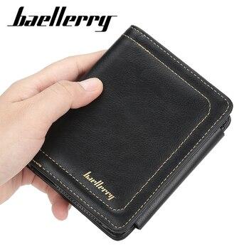 Baellerry 2020, billetera Casual de cuero para hombres, billetera de viaje Trifold, Bolso pequeño de diseño de lujo coreano para monedas, tarjetas de crédito