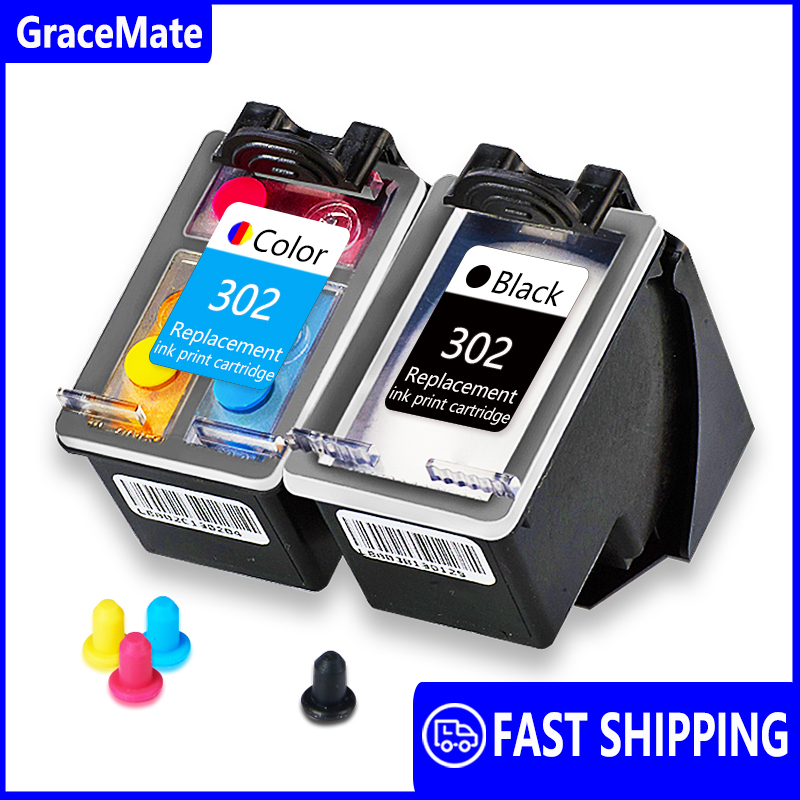 GraceMate Compatible For HP 302 Deskjet 2130 2135 1110 3630 3632 Officejet 3830 3831 3833 4650 4654 4657 Envy 4510 4511 Printer