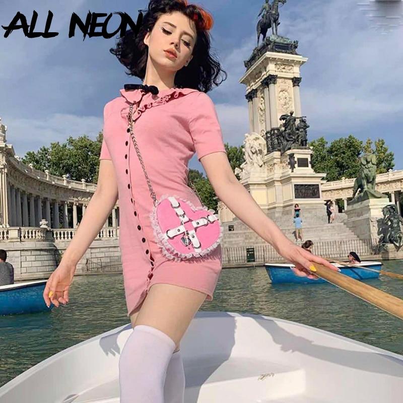 ALLNeon Kawaii manga corta vestido rosa vestidos de cuello Peter Pan-breasted Mini dulce vestidos Vintage-estilo de niña traje