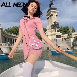 ALLNeon Kawaii Short Sleeve Bodycon Pink Dresses Peter Pan Collar Single-breasted Sweet Mini Dresses Vintage E-girl Style Outfit