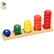 Montessori coloful Children Preschool Teaching kids Counting and Stacking Board Wooden Math Toy learning educational toys стоимость