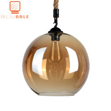 BLUBBLE Loft Amber Retro Hemp Rope Glass Pendant Light LED Pendant Lamp Plated Transparent Hanglamp Vintage Classic Hanging Lamp(China)