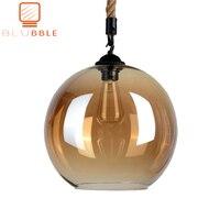 BLUBBLE Loft Amber Retro Hemp Rope Glass Pendant Light LED Pendant Lamp Plated Transparent Hanglamp Vintage Classic Hanging Lamp