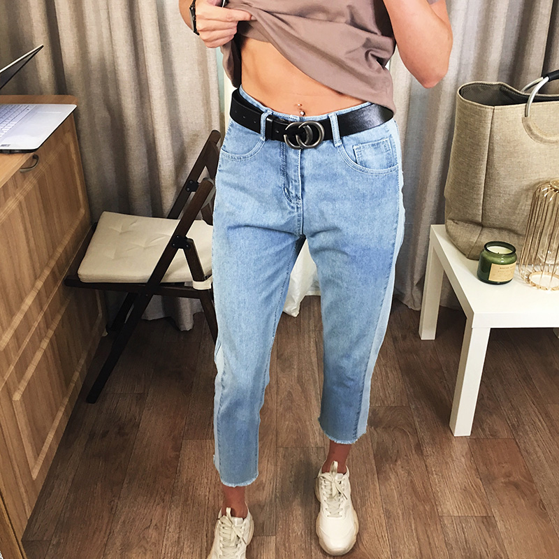 BIVIGAOS 19 New Spring Autumn Womens Cropped Jeans Korean Side Stitching Washed Denim Straight Pants Boyfriend Jeans For Women 5