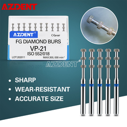 AZDENT Dental FG Diamond Burs For High Speed Handpiece Medium Grit 1.6mm VP-21 Depth Marking