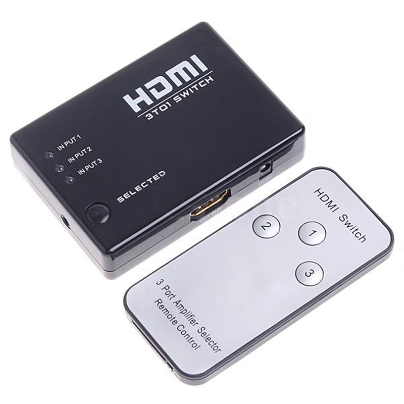 Mini <font><b>3</b></font> Port HDMI Switch Switcher <font><b>Splitter</b></font> 1080P HD Video + IR Fernbedienung image