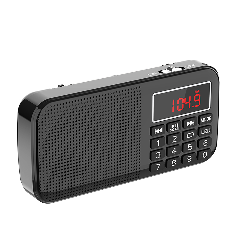 MP3 Music Player Speaker Portable Mini FM Radio Auto Scan With 18650 Battery And TF Card Slot And Flashlight