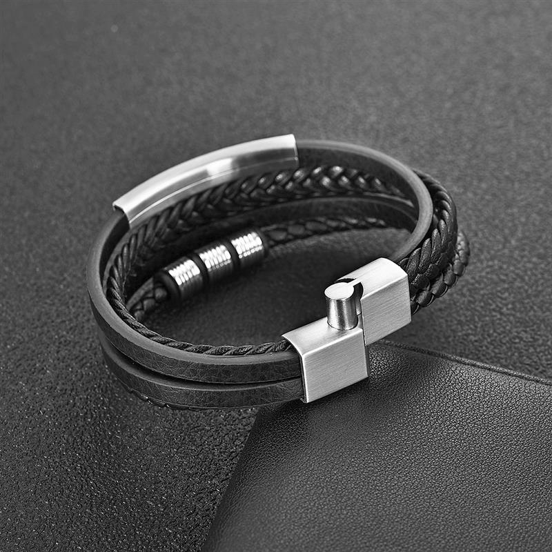 Fashion Stainless Steel Charm Men Bracelet Magnetic Clasp Braided Mutilayer Leather Wrapping Punk Rock Bangles Man Jewelry Gift