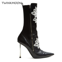 Buy Embroidered Leather Ankle Boots Metal Heel Point Toe Punk Black Booties Sexy Runway Fashion Women's Autumn Shoes buty damskie directly from merchant!
