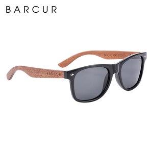 Image 4 - BARCUR الجوز الأسود النظارات الشمسية الخشب الاستقطاب النظارات الشمسية الرجال نظارات الرجال UV400 حماية نظارات خشبية الأصلي مربع