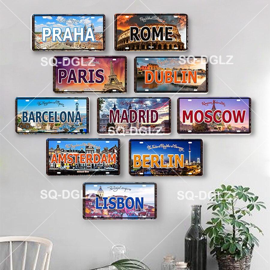 Favorite City Capital License Plate Vintage Metal Sign Bar Wall Home Decor