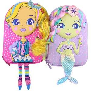 Image 3 - kawaii Pencil case school for girls cartoon mermaid doll pen box realistic modelling creative stationery box school supplies