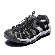صنادل شاطئ الرجال الموضة حجم 39 46 الرجال الصنادل النمط الروماني الصيف أحذية من الجلد للشاطئ في الهواء الطلق أحذية مشي الذكور