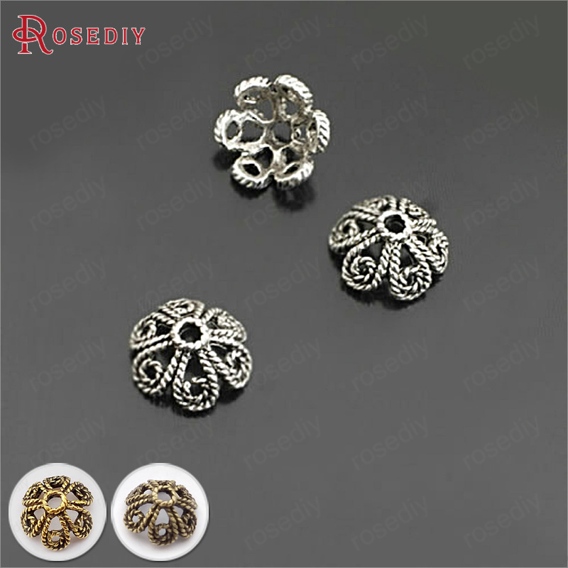 (26936)50PCS 10MM Antique Silver Zinc Alloy Twisted Petals Beads Caps Diy Jewelry Findings Accessories Wholesale