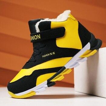 2020 Winter Warm Children Shoes For Boy Sky blue Kids Brand Sneakers With Fur Boys School High Top Teenager Sport Shoe