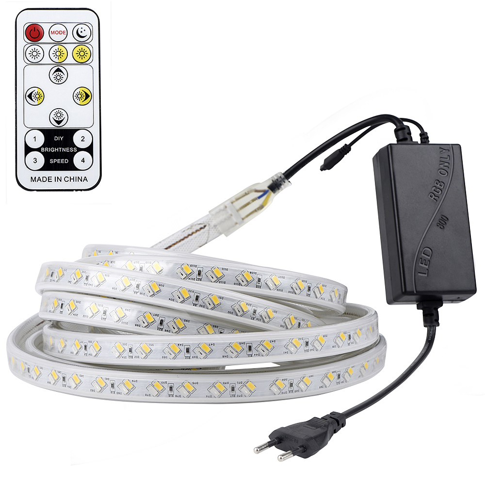LAIMAIK LED Strip Light SMD5730 IP65 Waterproof SMD5050 LED Ribbon Tape AC220V Flexible Strips For Home Lighting 5m 10m 30m 100m