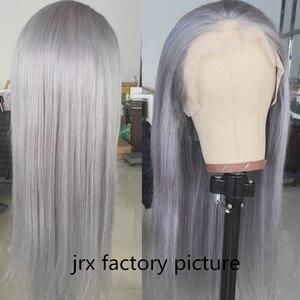Image 2 - JRX 毛ブラジルシルバーカラー毛ウィッグストレート人毛レースフロントかつら事前摘み取らナチュラル生え際