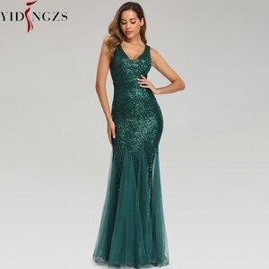 Image 2 - YIDINGZS ירוק שמלת ערב ללא שרוולים אלגנטי בת ים ארוך פורמליות המפלגה שמלת YD9682