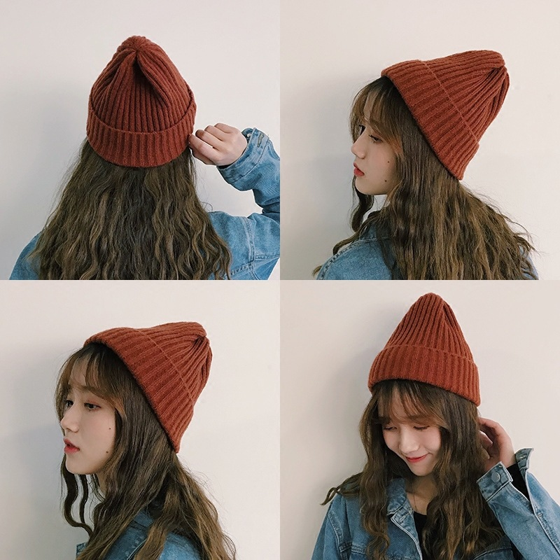 Hats For Women, Autumn And Winter  Simple Solid Color Knitted Hats For Students, Warm Hats