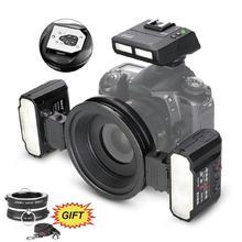 Meike MK-MT24 makro Twin Lite lamp błyskowych do Canon lustrzanka cyfrowa 70D 60D 760D 750D 550D 450D 1200D 5D 6D EOS M3 + VK-Q3 tanie tanio MEKE CN (pochodzenie) MK-MT24CII About 1005g 22 5*14*14mm AAANI-MH Battery 5600K Standard daylight