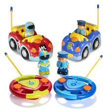 Mini Cartoon Remote Control Police Race Car Music Flashing Headlights One Freque
