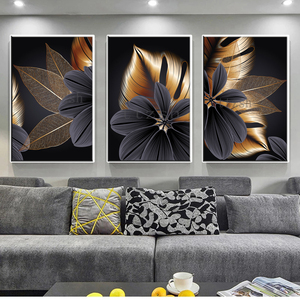 Nordic abstract plant leaf oil painting poster color golden yellow print canvas wall art painting modern painting decoration