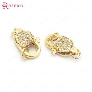 (37840) 2 шт 10x17 мм 24K золото цвет латунь и циркон ожерелья браслеты подключения застежки для изготовления украшений поставки Diy аксессуары